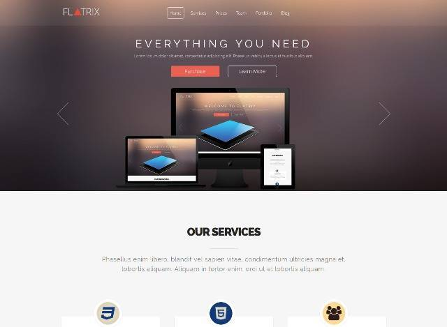 Flatrix One Page joomla! template