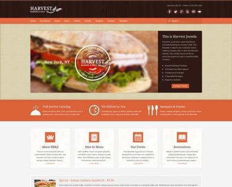 Harvest Restaurant & Food Joomla Theme