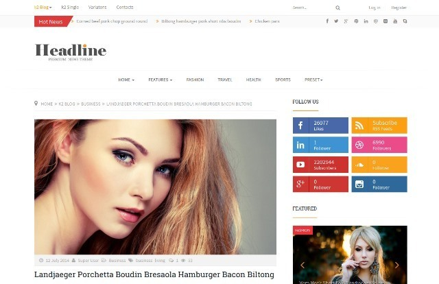 Headline Responsive Joomla News Template