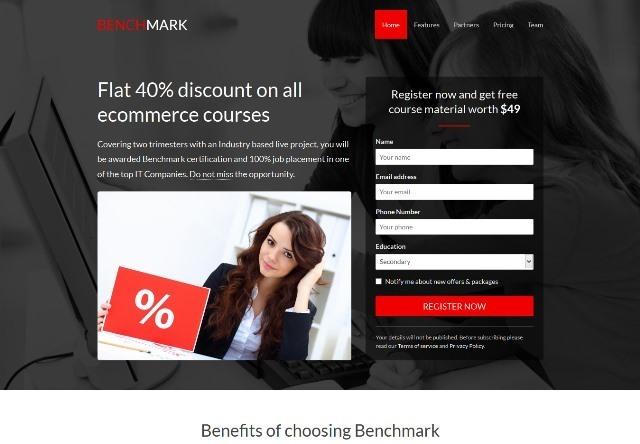 Benchmark Multi purpose landing page template