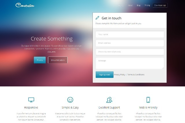 Conversion Responsive Landing Page