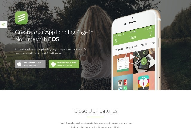 EOS Responsive Bootstrap 3 App Landing Page