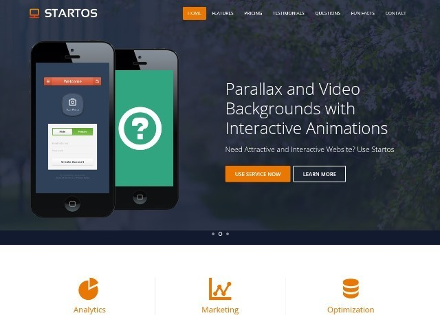 Startos Responsive HTML5 Landing Page