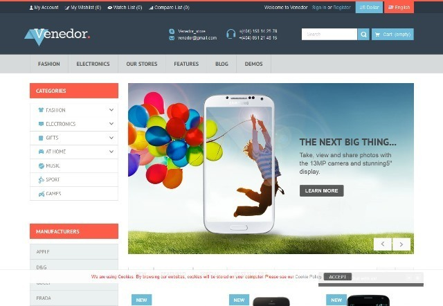 Venedor Premium Responsive Prestashop Theme