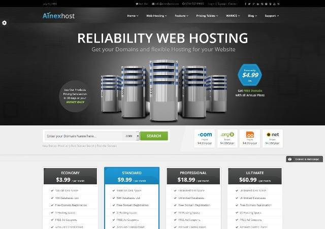 Ainex Host WHMCS WordPress Integration Theme