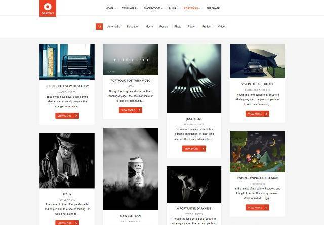 Objective Responsive Portfolio Photography Theme