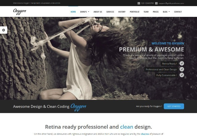 Oxygen One Page Parallax WordPress Theme