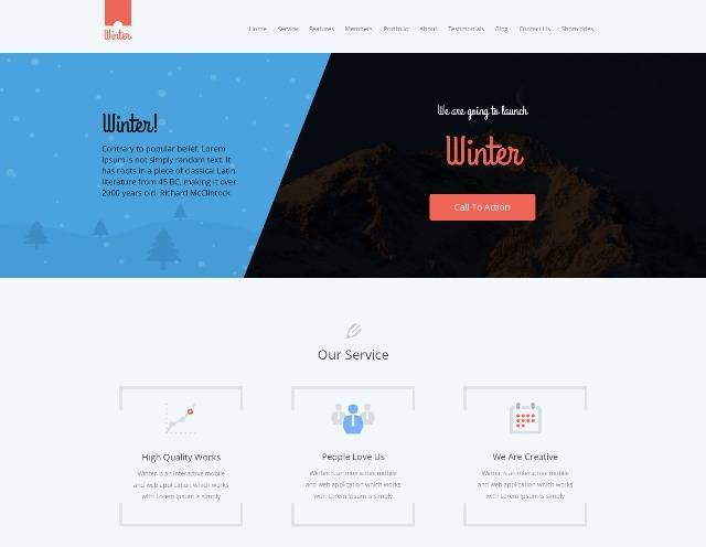 Winter colorful responsive one page WP template