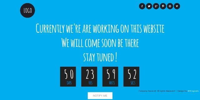 Blue Sky free Under Construction Website Template