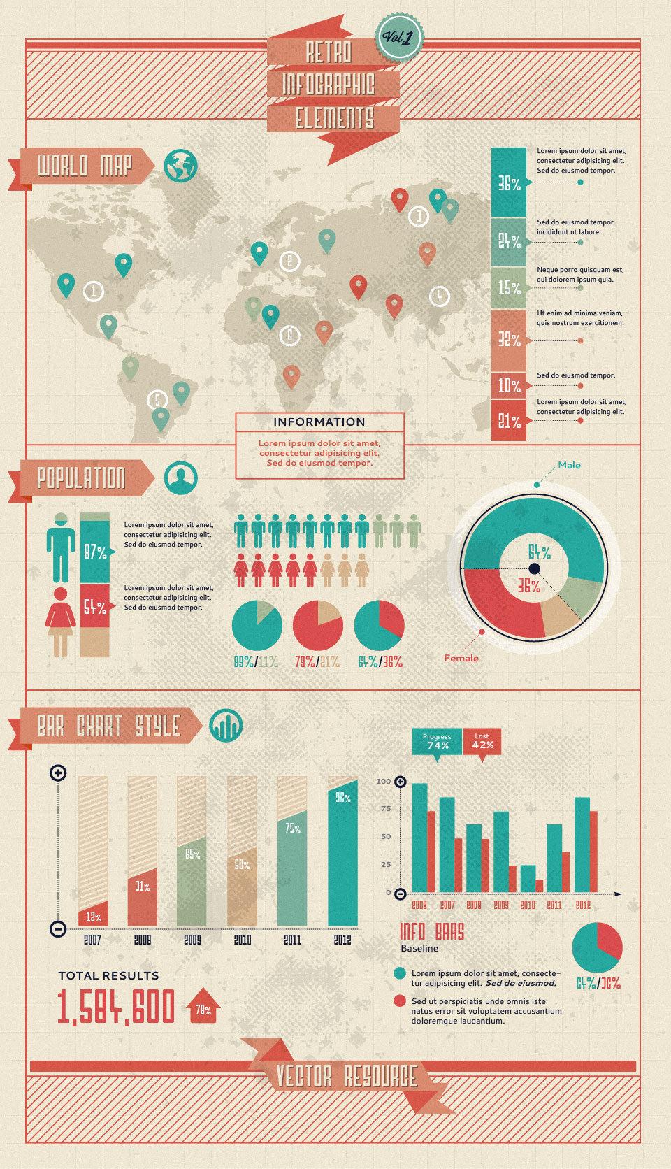 Retro Infographic Vector Elements