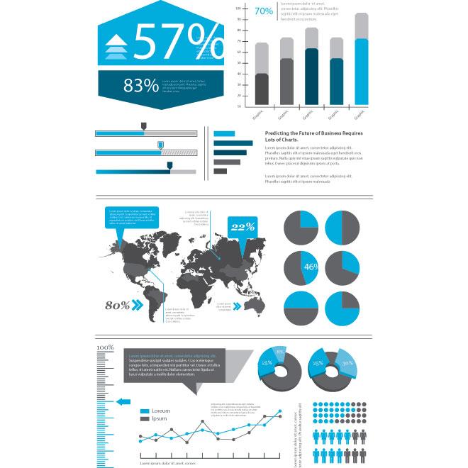 Vector blue infographics designer kit