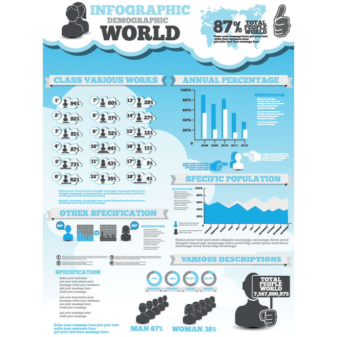 Vector Design Elements Set of Demographic Infographics