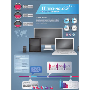 Vector Elements Set of IT Technology Infographics