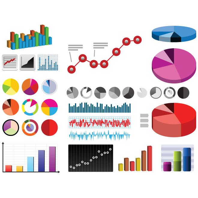 Vector three dimensional pie charts design elements