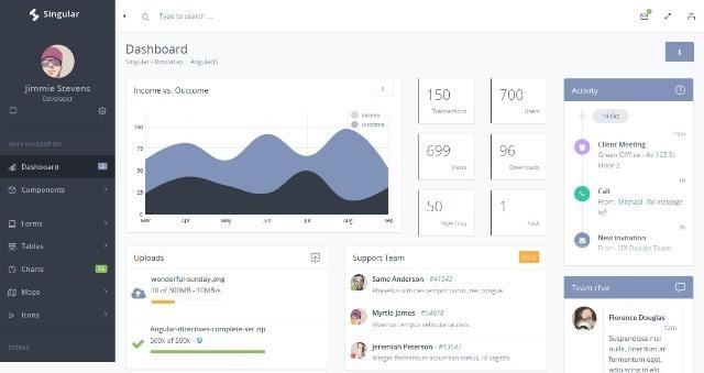 Singular - Bootstrap Admin Theme + AngularJS