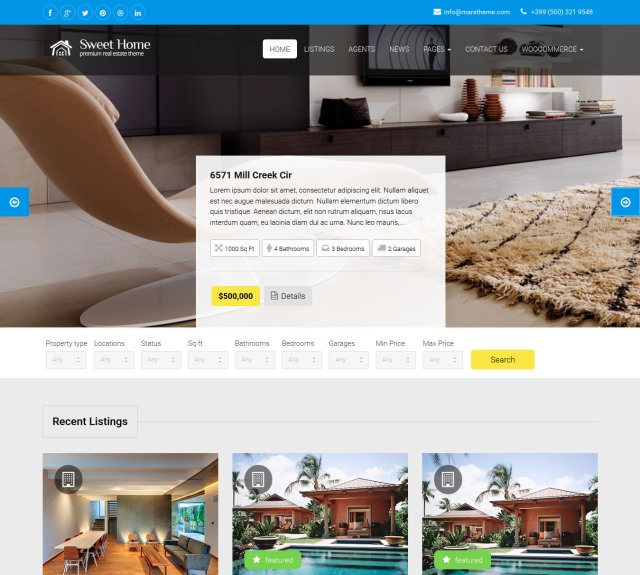 Sweethome Real Estate WordPress Theme