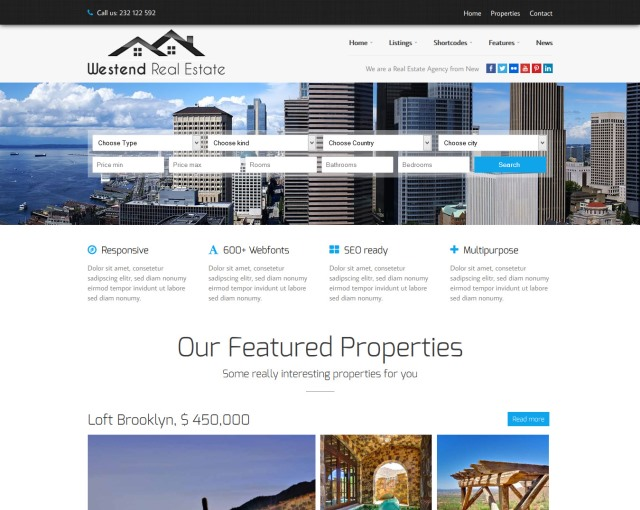 Westend Real Estate WordPress Theme