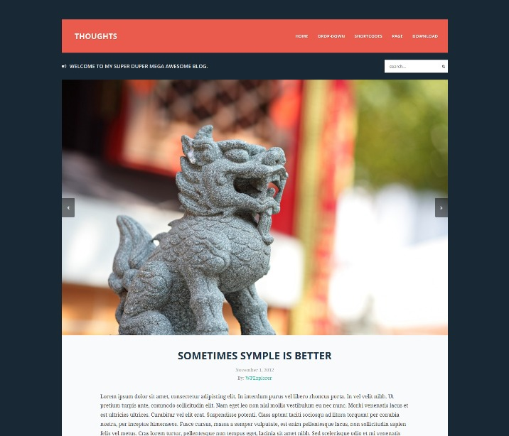 Thoughts Free Responsive Blog WordPress Theme